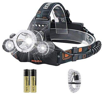 Boruit RJ-3000 Super Bright Rechargeable LED Headlamp