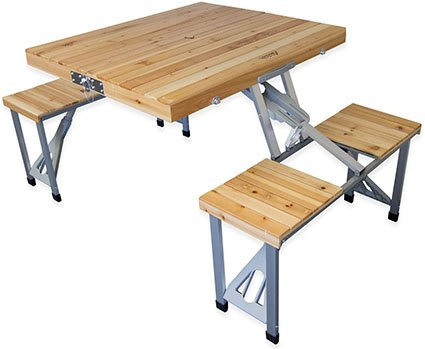 Andes Wooden Folding Portable Camping Table & Stool Chair Set