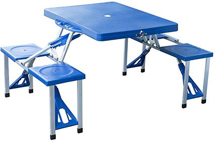 Outsunny Aluminum Picnic Table and Bench Set