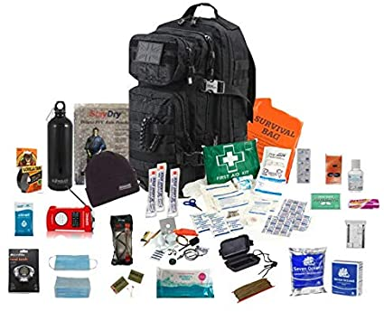 AMH One Person Emergency Survival Kit Bug Out Bag (Black)